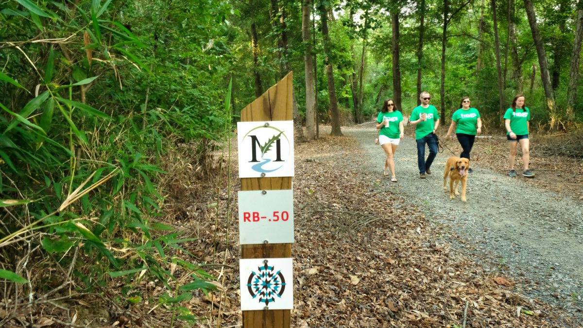 Four people in green shirts walk towards the viewer with a golden retriever, along a gravel trail. Signpost with trail information in foreground, lush forest in background.
